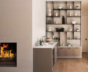 Contemporary coffee bar with flat panel cabinetry and custom metal display shelving near fire place