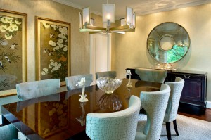 eclectic transitional dining room with upholstered chairs and wall paper and gold chandelier